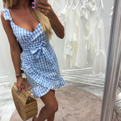 Plaid Halter Zip Ruffled Dress