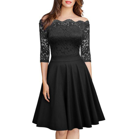 Fashion Womens Solid Color Lace Dress