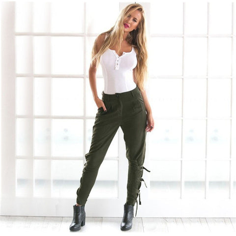 Leisure green Long pants