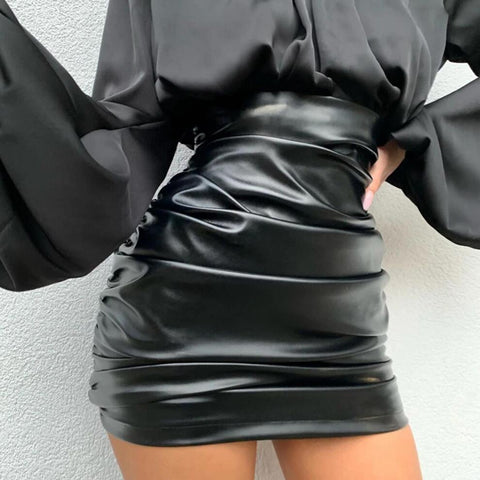 Womens Fashion High Waist Leather Skirt