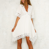 Lace Stitching Chiffon V-Neck Dress