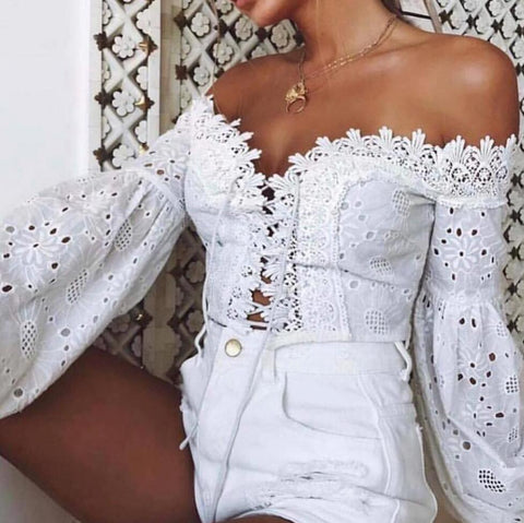 Sexy Embroidery Long Sleeve Crop Top