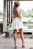 Sexy V-Neck Long Sleeved White Dress
