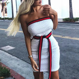 Strapless Solid Color Mini Backless Dress