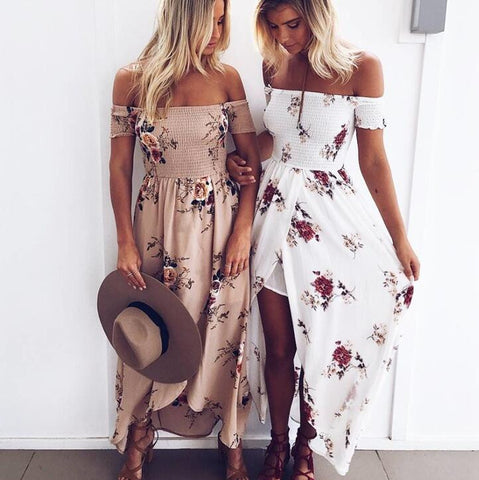 Fashion Sexy Strapless Print Long Dress