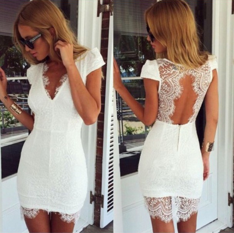 Sexy V-Neck White Lace Dress