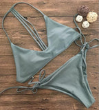 Sexy Green Bandage Beach Swimwear Bikini Set