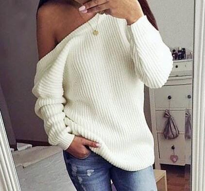 Fashion Backless Loose Solid Color Sweater