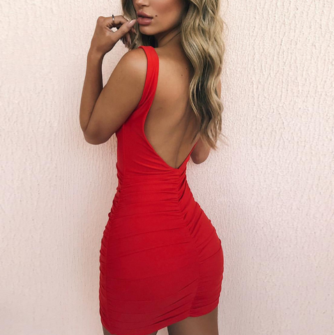 Backless Sleeveless Package Hip Dress
