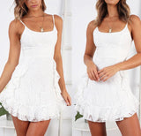 Fashion White Ruffled Sling Dress