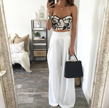 FASHION WHITE HIGH WAIST LONG PANTS