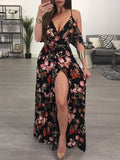 Sexy V-neck Low Chest Print Long Dress