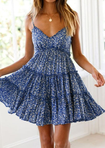 Women's Sexy V-neck Print Dress