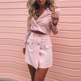 Fashion Tops Long Sleeve Skirt Two-Piece Suit