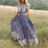 Fashion Short Sleeve Print Long Dress