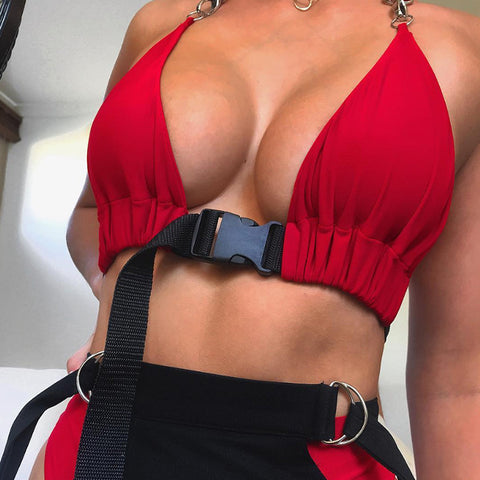 Sexy Women Vest Front Buckle Bra Bustier Crop Top