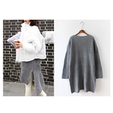 Oversized Long Side Slit Gray Knit Sweater