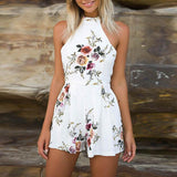 Womens Fashion Print Sleeveless Zipper Jumpsuit