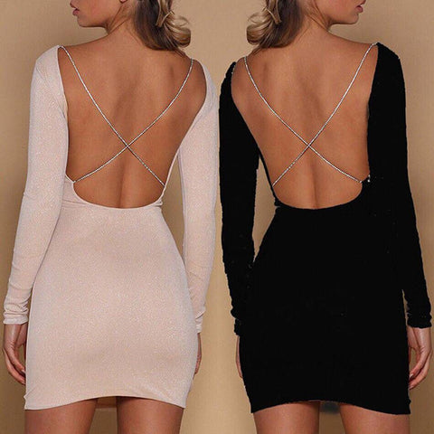 Sexy Backless Long Sleeve Dress