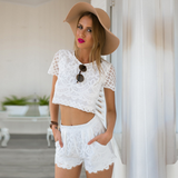 TWO-PIECE LACE SHORT-SLEEVED SHORTS
