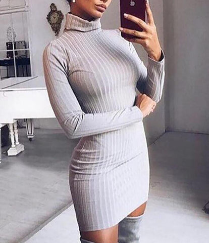 Sexy Solid Color High Collar Bodycon Dress