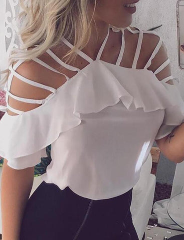 Fashion Chiffon White Shirt Crop Top