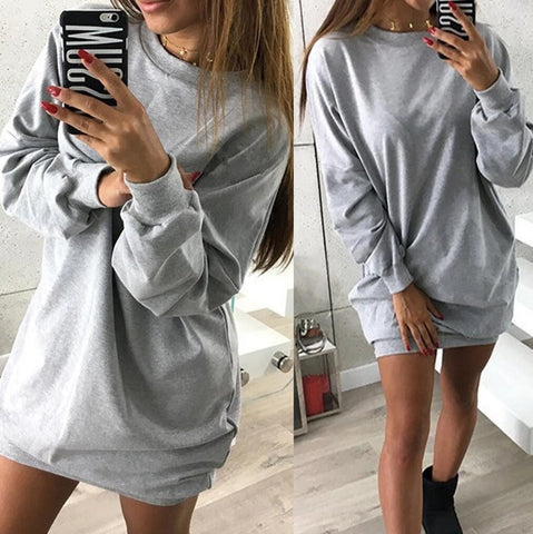 Crew Neck Long Sleeve Loose Sweatshirt Dress