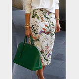 Fashion Elegant Floral Printed Pencil Skirt