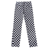 High Waist Plaid Zipper Checkered Pants