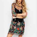 Embroidery Long Sleeve Perspective Lace Dress