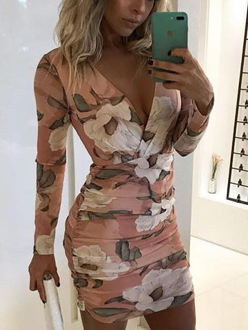 Long Sleeve V-Neck Womens Print Dress