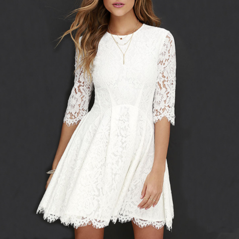 Fashion Lace Crew Neck White Dress