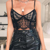 Women Sexy V-Neck Zippered Lace Vest Top