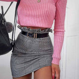 Plaid Fashion High Waist Skirt