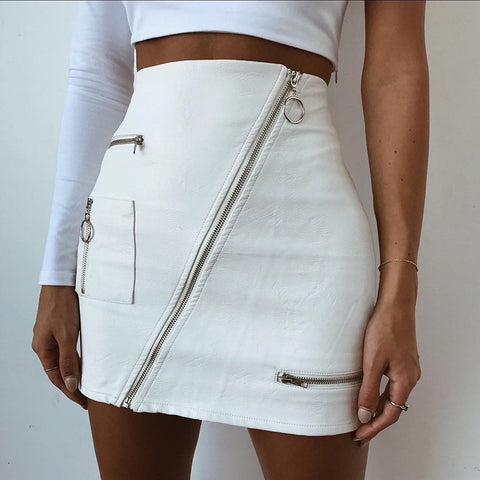 Fashion Leather Zipper Mini Skirt