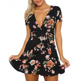 Sexy Deep V-neck Short Sleeve Print Dress