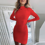 High Neck Solid Color Backless Dress