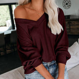 V-Neck Loose Long Sleeve T-Shirt Top