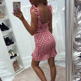 Fashion Plaid Bow Sleeveless Dres
