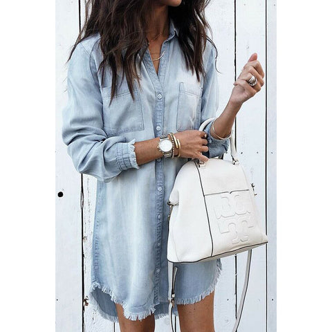 Tassel Irregular Denim Shirt