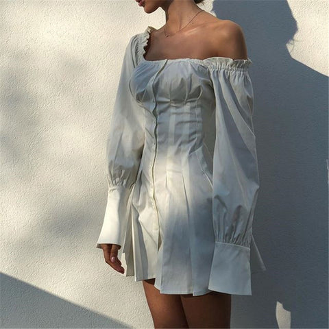 Solid Color White One-Shoulder Dress