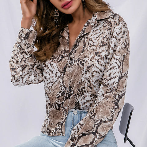 Leopard Print Long-Sleeve Button V-Neck Cardigan T-Shirt