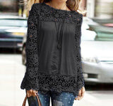 Fashion Long-Sleeved Lace Stitching Chiffon Shirt
