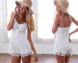 Fashion Round Neck White Lace Suspenders Piece Pants