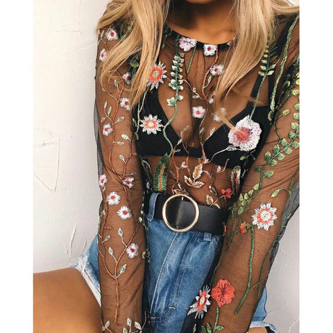 Sexy Floral Embroidery Transparent Long Sleeve Top
