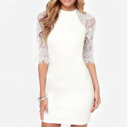 Lace Stitching Round Neck Long-Sleeved Mini- Dress