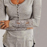 Round Neck Lace Long-Sleeved T-Shirt