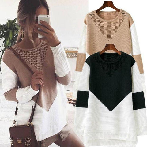 Fashion Knit Long-Sleeved Round Neck Sweater Top
