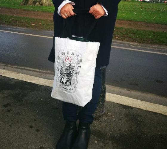 White Tyvek Tote with Tatoo Style Print