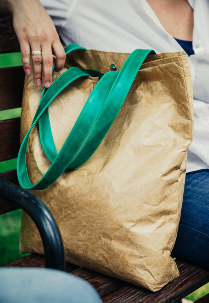 Everyday Tote Bag with Green Handles